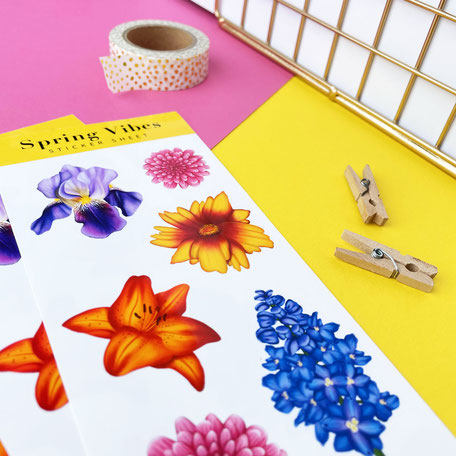 colorful sticker sheet with flower illustrations