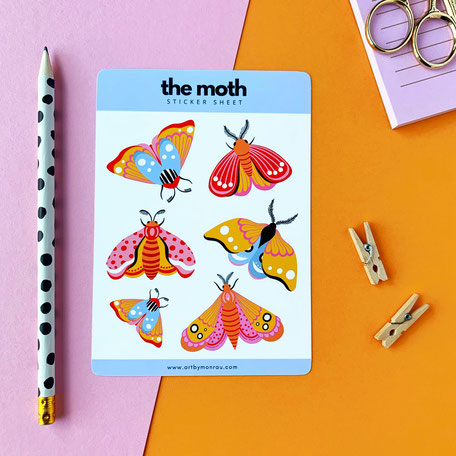 sticker sheet with 6 colorful moth illustrations