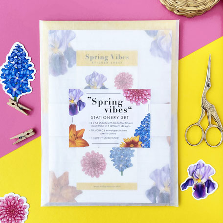 spring vibes stationery set with colorful flower illustrations and sticker sheet