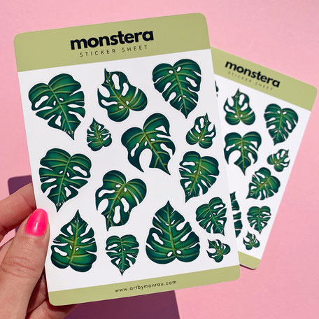 sticker sheet with monstera illustration