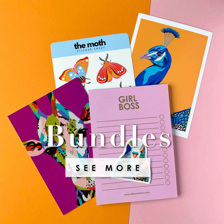 colorful gift ideas with sticker, colorful prints and stationery