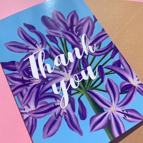 thank you greeting card with flower illustration