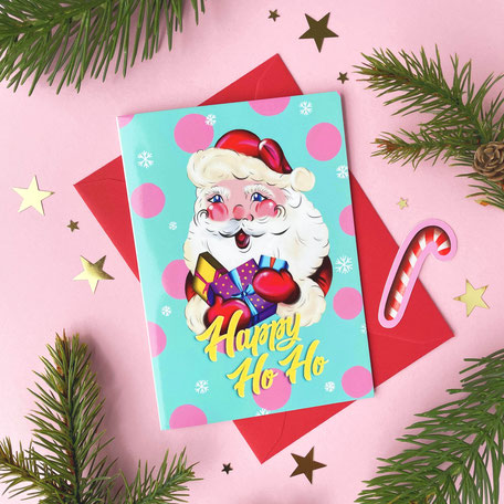 colorful christmas greetingcard with santa