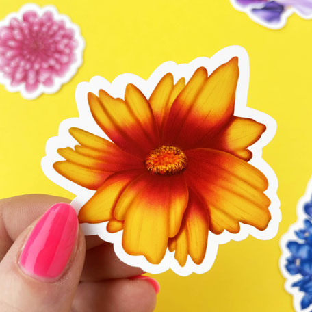 color flower vinyl sticker