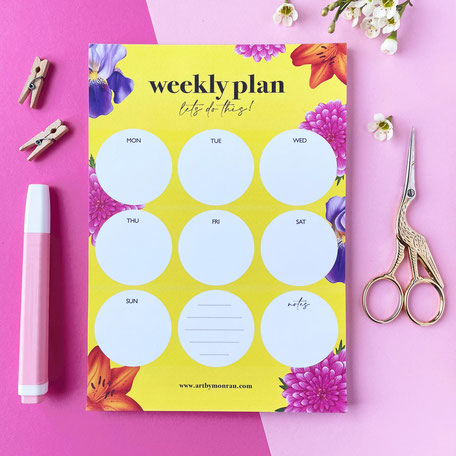 colorful floral illustrated weekly planner