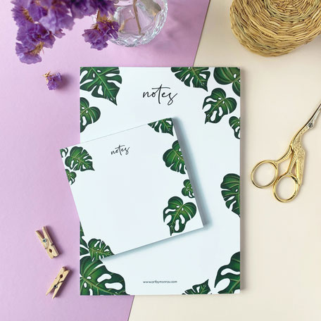 set of notepads with monstera illustration made of recycled paper