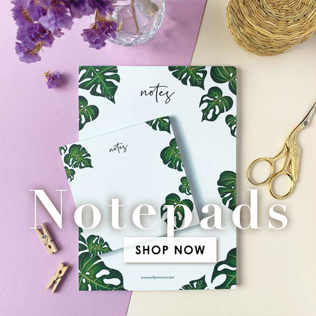 stationery with monstera illustration