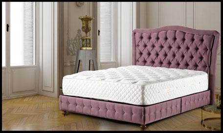 Bett mit Aufbewahrungsfunktion einschl. Betthaupt Valentino und Matratze