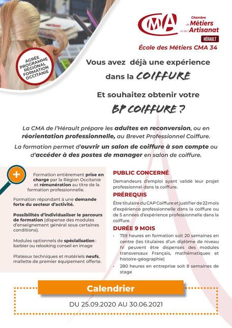 coiffure apprentissage BP Occitanie CMA34 École des Métiers Hérault Montpellier