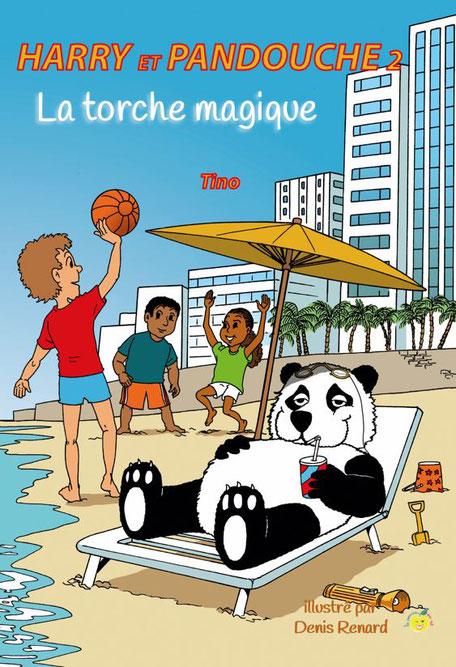 Harry et Pandouche La torche magique un petit garçon et son ami panda jouent au ballon sur la plage de MIAMI de 7 à 9 ans