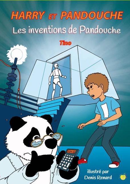 Harry et Pandouche Les inventions de Pandoucheun petite garçon et son ami panda calculent pendant que l'androïde entre dans la machine