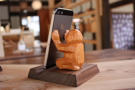 携帯忘れなスタンド ササエル 一位一刀彫 飛騨高山 伝統工芸