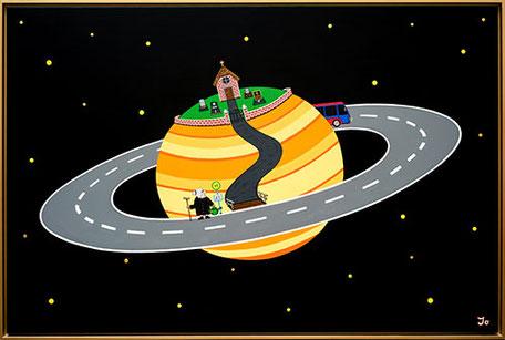 Letzter Halt Saturn / 150x100cm / Acryl auf Leinwand