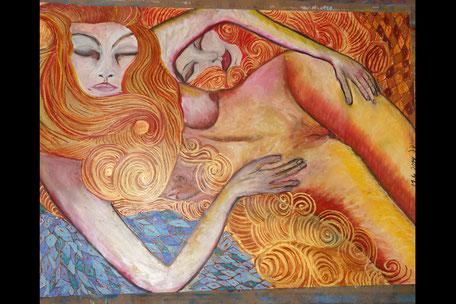 Ehefrau und Ehefrau - Ölpastell auf Papier, 70x100cm, Mindestgebot 390€