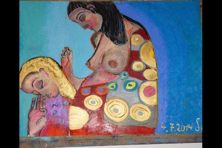 Heilige Mütter, 70x100cm, Ölpastell auf Papier, MIndestgebot 310€