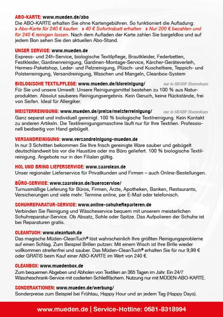 mueden.de, Filiale Haco Wadern, Flyer Preis & ABO Rückseite, Service