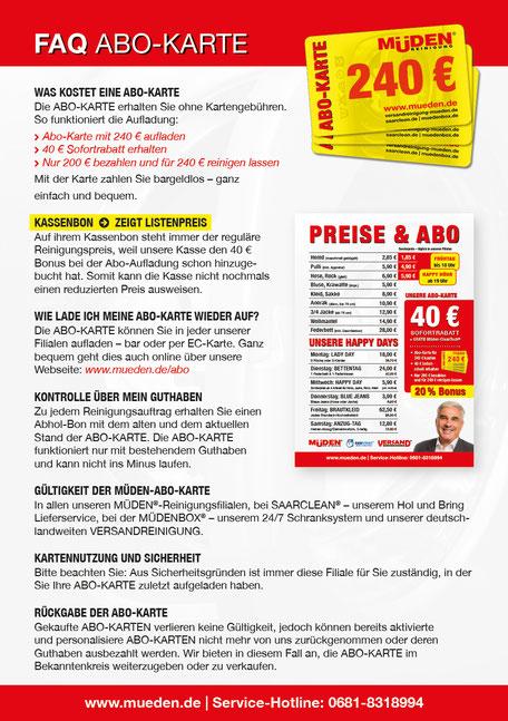 mueden.de, Filialen, Filiale Globus Güdingen, Flyer FAQ Abokarte