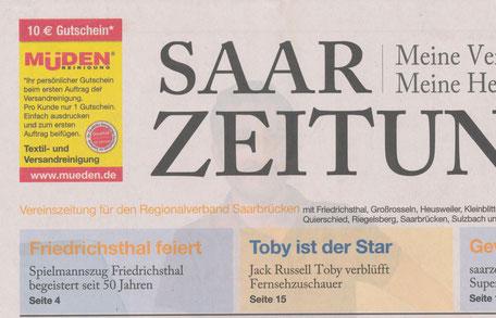 mueden.de, Presse, August 2016 Titelseite Saarzeitung