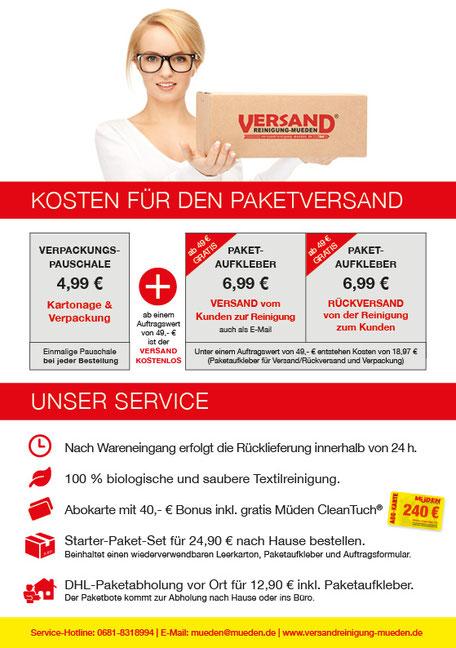 mueden.de, aktuelle Werbung, Versandreinigung Kosten Paketversand