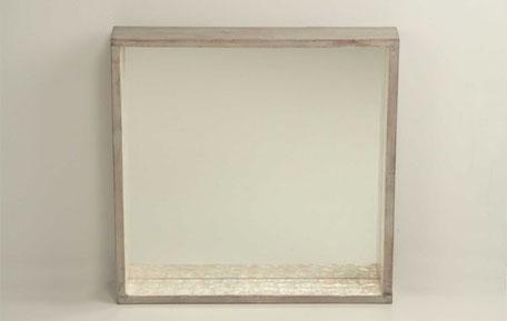 Espejo cuadrado de capiz color blanco