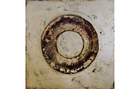 Cuadro de círculo concéntrico en tonos tierra de Torres