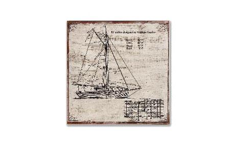 Cuadro de un boceto de un velero en tonos claros