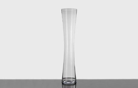 Jarrón de cristal transparente alto con forma de cilindro