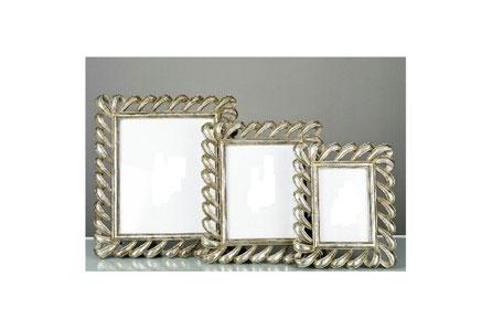 Marco de foto de plata con bucles