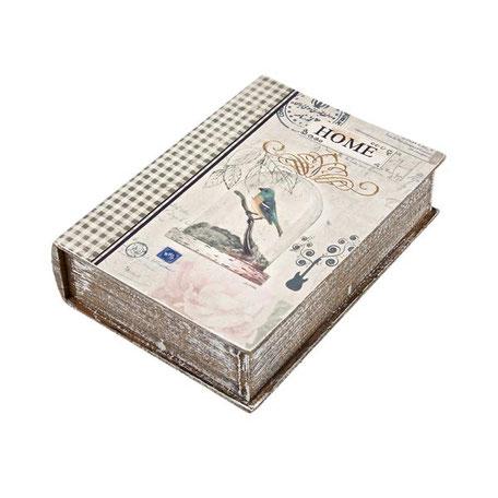 Caja libro con pájaros de estilo antique
