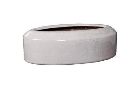 Centro de mesa de cemento ovalado de color blanco