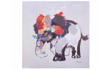 Cuadro multicolor de elefante
