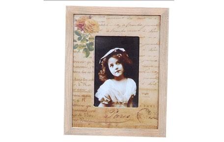 Marco de foto de madera con flor estilo vintage