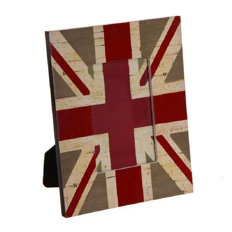 Marco de foto de madera con la bandera inglesa