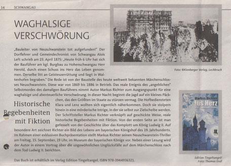 """Bericht zum Neuschwanstein Thriller """"Ins Herz"""" in der Sommerfreizeit der Allgäuer Zeitung - August 2017"""