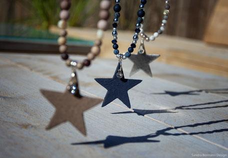 Lange Ketten, Perlenketten, Perlen-Leder-Ketten, handgemacht, individueller Schmuck,