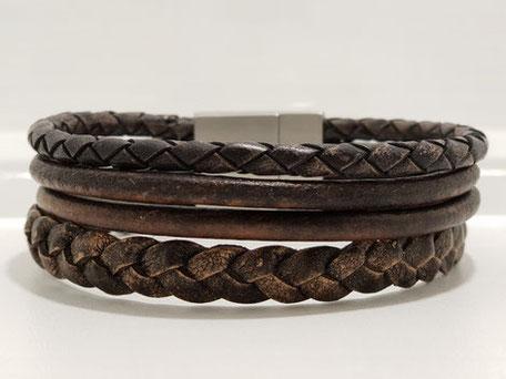 Herrenarmband, Perlenkette für Männer, Lederarmband, Magnetverschluss, Edelstahl