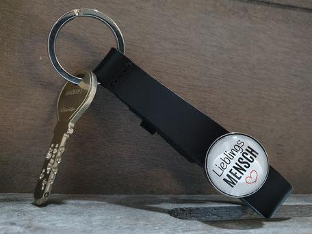 Leder, Schlüsselanhänger, handgemacht, Cabochon, Wunschmotiv, witzige Sprüche