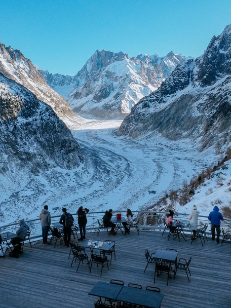 Panoramic terrace, Montenvers Train, Mer de Glace, Chamonix (French Alps, Alpes françaises)