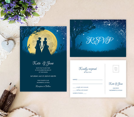 Moon Night Lesbian Wedding Invitations