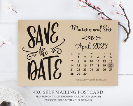 Calendar Wedding  Save the Date Postcards