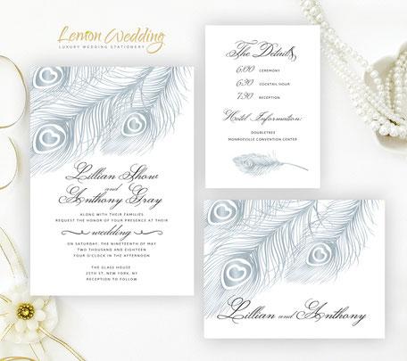Peacock wedding invitation suite