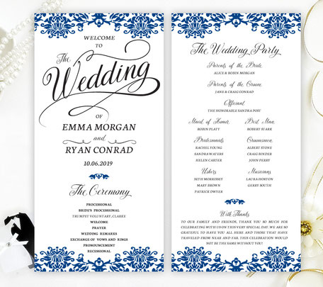 Royal Blue Lace Wedding Programs