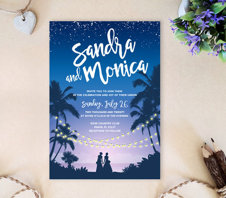 Romantic Lesbian Wedding Invitation