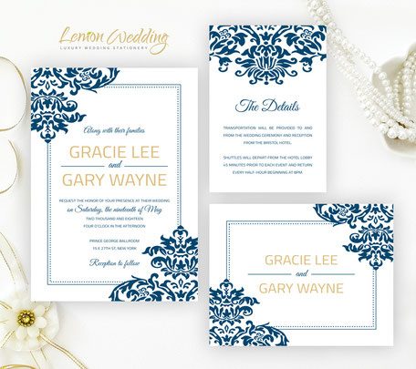 Navy and gold wedding invitation cards