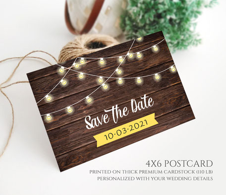 Country Rustic  Save the Date Postcards