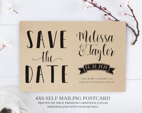 Banner Wedding  Save the Date Postcards