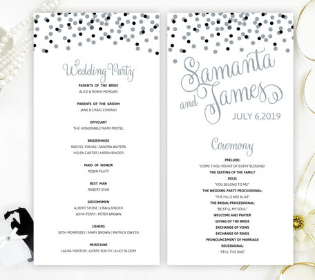 Silver Confetti Wedding Programs