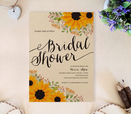 Sunflower bridal shower invitations kraft