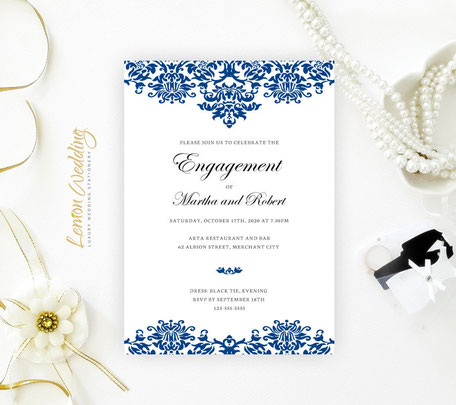 Royl Blue Engagement Invitation