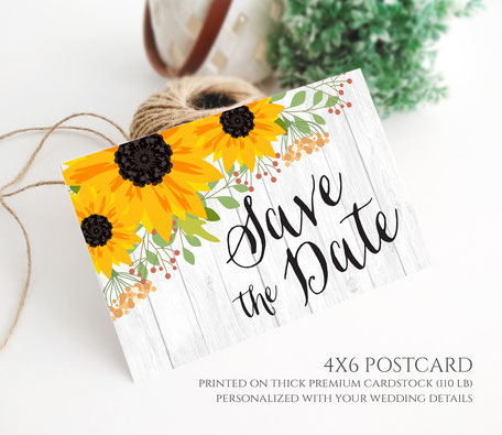 Sunflower Save the Date Postcard